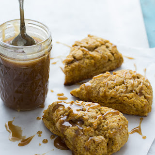 Pumpkin Spice Scones with Bourbon Caramel Glaze