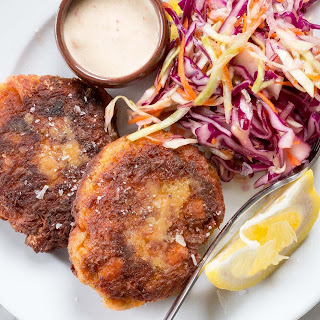 Fresh Salmon Cakes with Spicy Mayo.