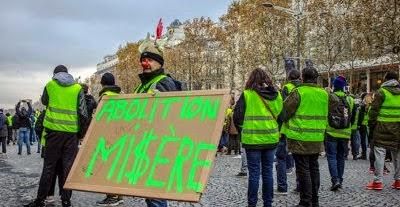 Menschen mit gelben Westen, Plakat: «Abolition MI$ÈRE».
