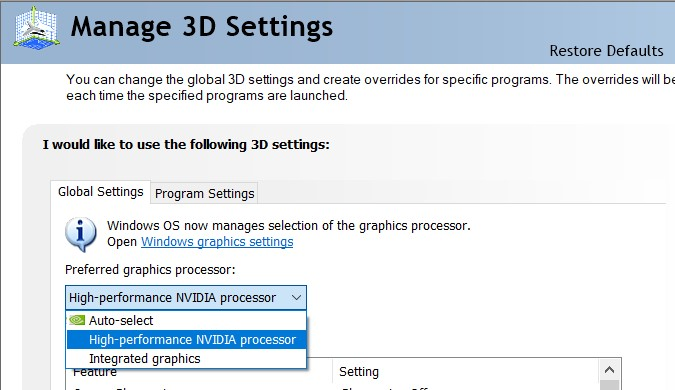 High-Performance NVIDIA processor in the Preferred Graphics Processor drop-down menu