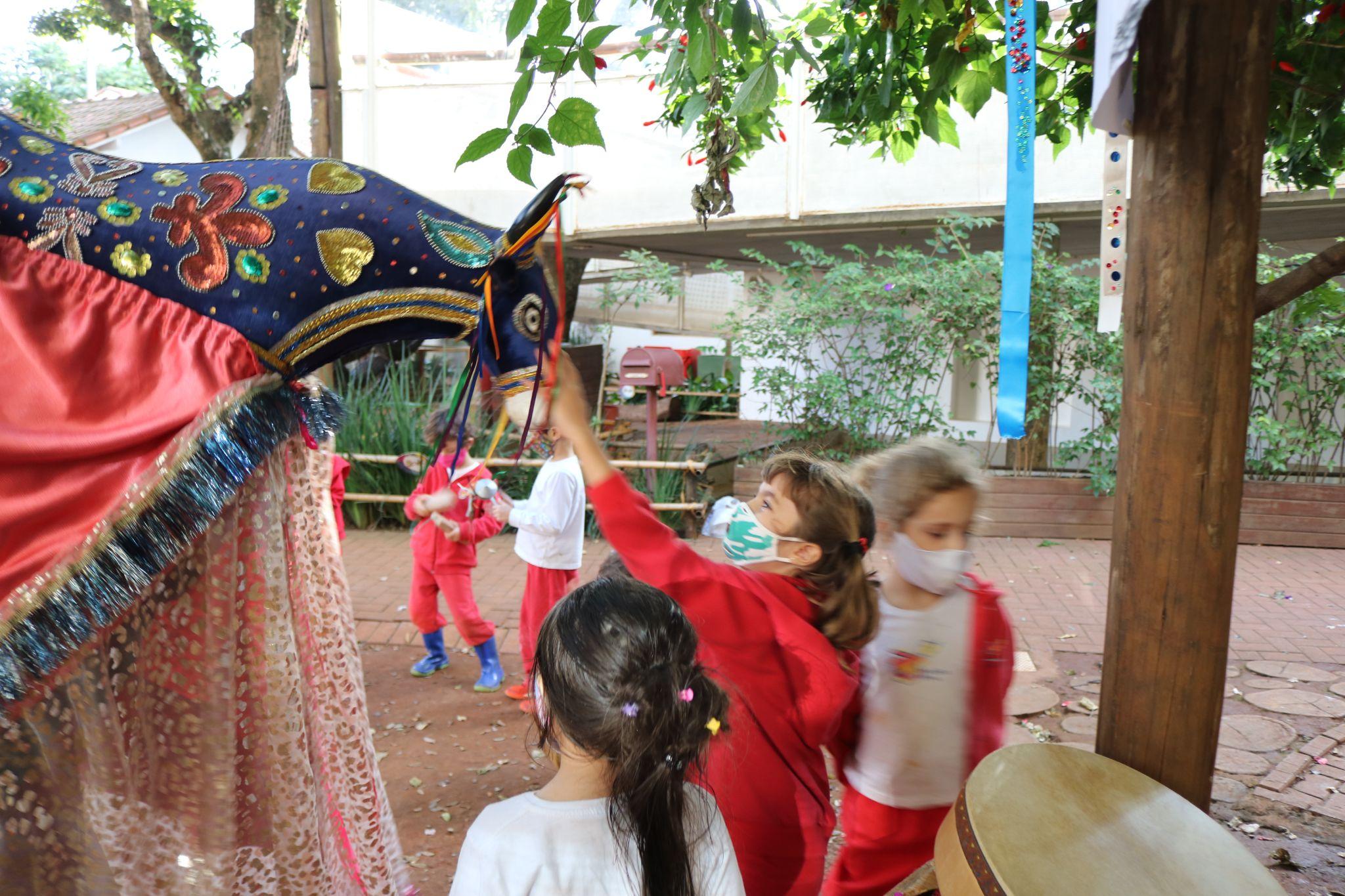 A imagem mostra uma criança interagindo com uma fantasia de um boi.