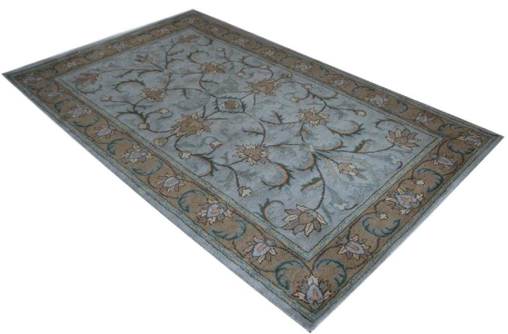 niebieski z akcentem brązowym dywan persian ziegler wełniany ręcznie tkany 155x245 tradycyjny kwiatowy