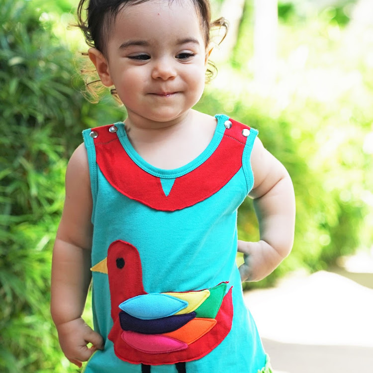 Star Moon Rainbow Seagull Dress in Turquoise (12 months) by Berry Wonderful