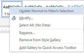 Update Normal to Match Selection