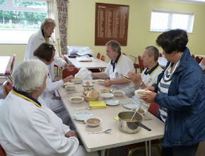 Photo: Hot soup to warm up the competitors. Val King in charge.