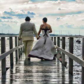 into the sky by Gregg Eisenberg - People Couples ( love, clouds, sky, married, dress, wedding, pier, couple, ocean )