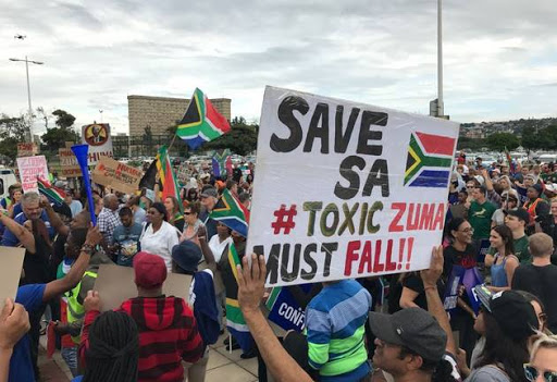 Protesters label Zuma 'toxic'.