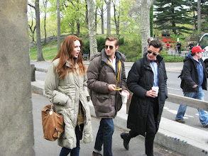 Photo: Doctor Who's Karen Gillan (Amy Pond), Arthur Darvill (Rory Williams) and Matt Smith (The Doctor) walk to shooting location in NYC's Central Park. Totally lucked into them walking right by me.
