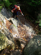 Photo: Tommy coming up the Blueberry Ledges Trail.