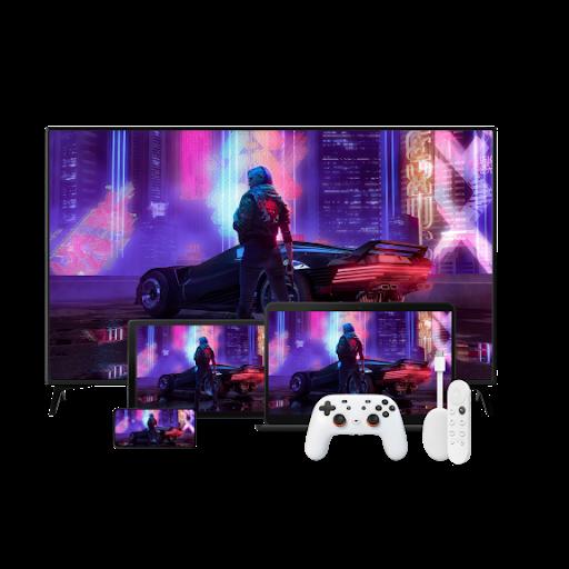 Une manette Stadia et d'autres appareils Google, dont un Chromecast avec GoogleTV, devant un téléviseur à écran plat affichant un jeu vidéo.