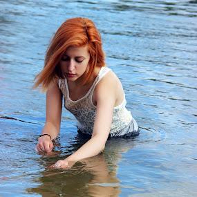 by Sandra Jakovljevic - Digital Art People ( water, orange, girl, dress, summer, hair, river )
