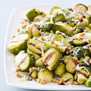 Slow-Cooker Balsamic-Glazed Brussels Sprouts With Pine Nuts.