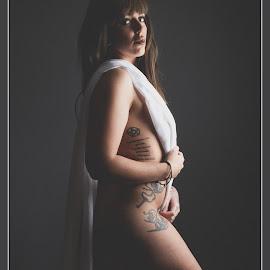 Lady in Waiting by Andrew Holland - Nudes & Boudoir Boudoir ( colour, woman, portraits of women, fabric, portraits, lady, sheet, portrait )
