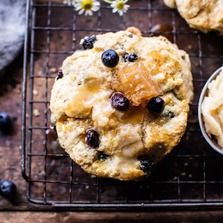 Blueberry Brie Cornbread Biscuits with Honey Butter.