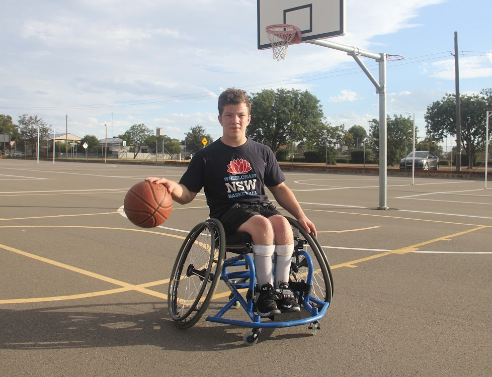 Keltan Williams at the Narrabri basketball courts on Tuesday evening.