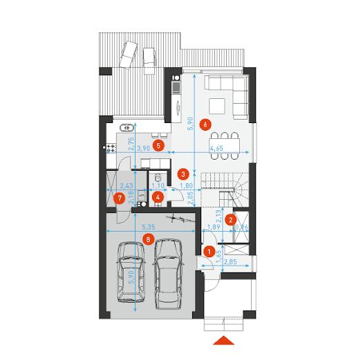 Dostępny 3 - Rzut parteru - wymiary szczegółowe