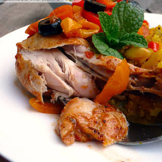 Harissa Moroccan Chicken w/Sweet Peppers & Olives.