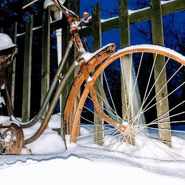 Alone on the snow by Nat Bolfan-Stosic - Transportation Bicycles ( winter, snow, evening, alone, bicycle )