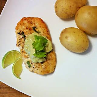 Broiled Alaskan Rockfish with Avocado Lime Sauce.