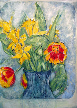 """Photo: 2- Tulips and Daffodils, 2012, 21cm x 29cm, 8"""" x 11.5"""", India inks, oils, Moleskine folio Sketchbook.  (I do laugh, though. If you know anything of my green fire, chthonic rhizome garden goddess, you might see her here. Entirely unintentional - but garden goddesses who are molecular frenzies, chlorophyll arias, are like that - one arm bent behind her hourglass figure in a blue strapless dress, her bosom bursting green stalks,  yellow daffodils and red tulips, no head, but you can't have everything... lol)"""