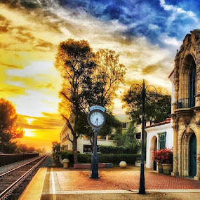 Sunset in a train station  by Nelida Dot - City,  Street & Park  Neighborhoods ( colour, sunset, station, old town, clock, travel, train, transportation,  )