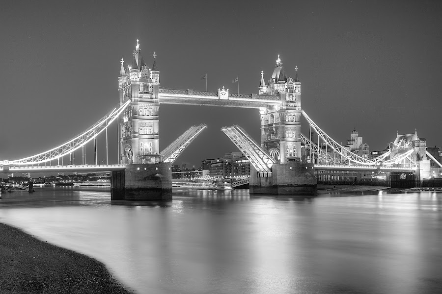 Tower Bridge 2012 by Darren Curtis - Buildings & Architecture Bridges & Suspended Structures ( darren curtis photography.co.uk, raised tower bridge, urban, photomatix, hdr, london, © 2012 all rights reserved, canon 5d mkii, lightroom, cityscape, river thames )
