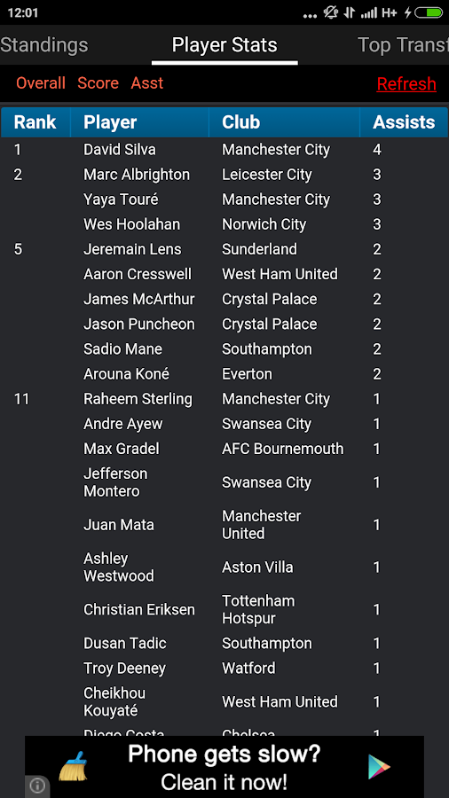 Fixtures and Standings for EPL- screenshot