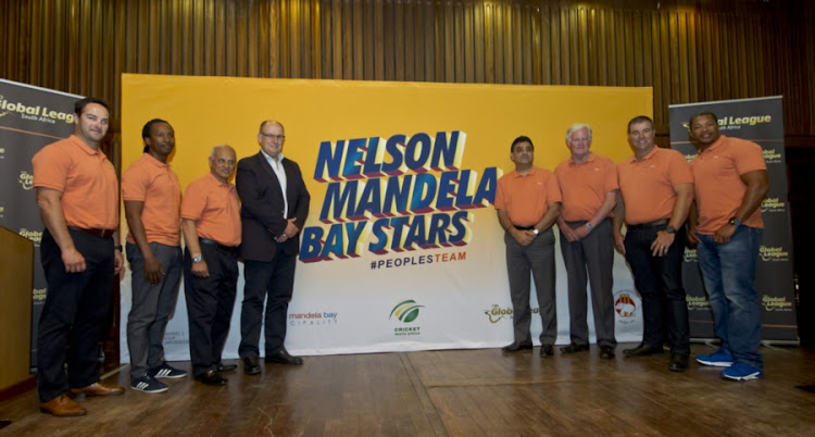(From L-R): Mark Boucher (Head Coach), Malibongwe Maketa (Assistant Coach), Goolam Rajah (Team Director), Athol Trollip (Mayor), Ajay Sethi (Franchise Owner), Graeme Pollock (Ambassador), Heath Streak (Bowling Coach), Makhaya Ntini (Team Ambassador) during the T20 Global League Port Elizabeth Franchise press conference at City Hall on August 23, 2017 in Port Elizabeth, South Africa.