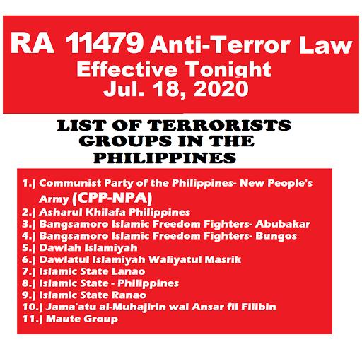 Anti-Terrorism Law RA 11479 takes effect Starting Tonight Midnight July 18
