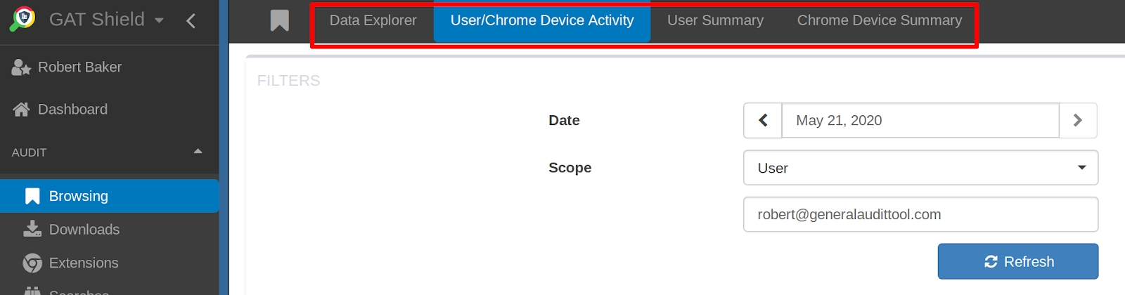 GAT Shield: Browsing Report for Chrome Managed Guest Session Devices 3