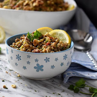 Simple Fregola Salad Recipe with Lentils.