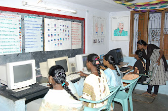 Photo: 'Hands on' training' for young rural women at our rural community Technology centre