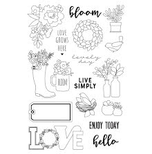 Simple Stories Spring Farmhouse Clear Stamps 4X6 - Live Simply UTGÅENDE