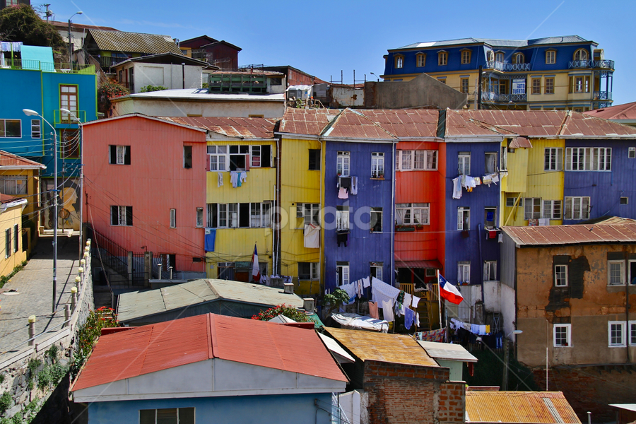 Valparaiso Colors by Leigh Thomson - City,  Street & Park  Neighborhoods ( exteriors, latin america, colors, valparaiso, poor, tourism, travel, architecture, city, chile, urban, south america, buildings, homes, neighbourhood )
