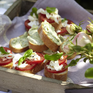 Pesto Cream Cheese Bruschetta and Mozzarella and Tomato Bruschetta