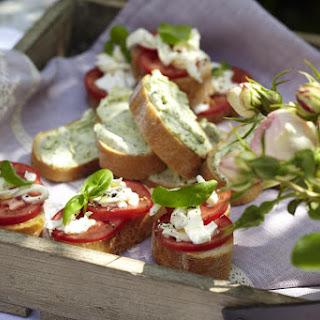 Pesto Cream Cheese Bruschetta and Mozzarella and Tomato Bruschetta.