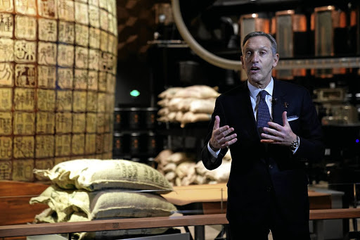 Starbucks executive chairman Howard Schultz addresses a press conference at the new Starbucks Reserve Roastery in Shanghai, China, on December 5 2017. Picture: REUTERS