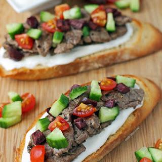 Open-Faced Greek Steak Sandwiches.