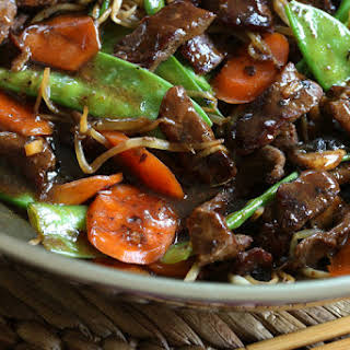Beef Stir-fry with Snow Peas and Mushrooms.