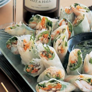 Shrimp Rice-Paper Rolls with Vietnamese Dipping Sauce.