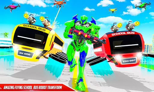 Flying School Bus Robot: Hero Robot Games filehippodl screenshot 2
