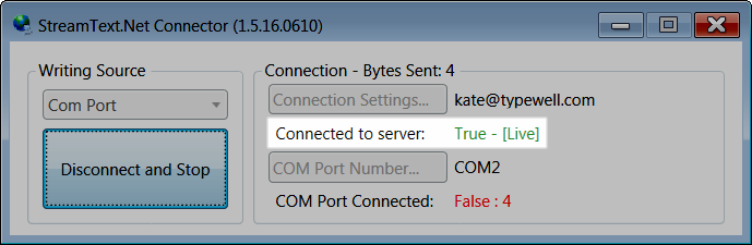 StreamText connector window with Connector to Server status of True Live