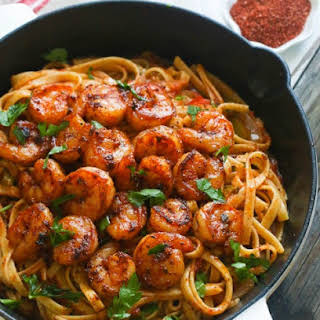 Blackened Shrimp And Pasta.
