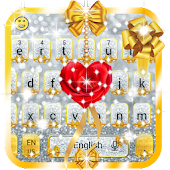Gold and Silver Glitter Bow Girlish Keyboard