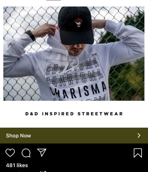 D&D Inspired Streetwear's website homepage.