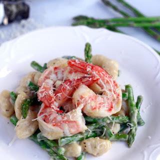 Asparagus Gnocchi with Shrimp.
