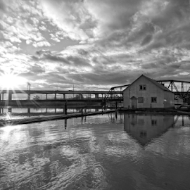 Ebey Slough  by Todd Reynolds - Black & White Buildings & Architecture