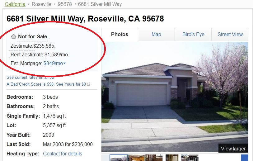 Why Zillow may be a Roseville, CA or Rocklin, CA home