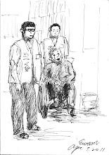 Photo: 無助2011.04.07鋼筆 癌末的收容人痛得呼天搶地,兩位看護無助地呆立一旁…