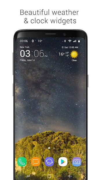 Transparent clock & weather Android App Screenshot